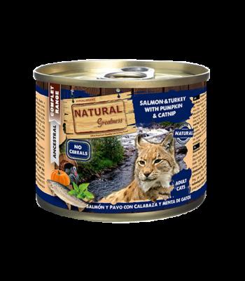 Natural Greatness Salmón, Pavo, Calabaza y Catnip